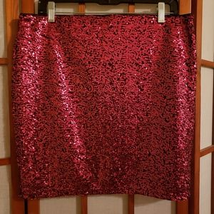 H&M Divided red sequin mini skirt EUC